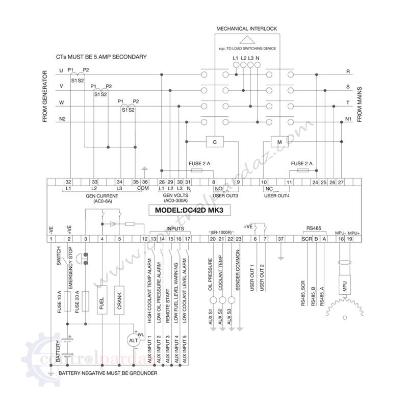 مشخصات برد کنترل دیزل ژنراتور می بای مدل DC42D